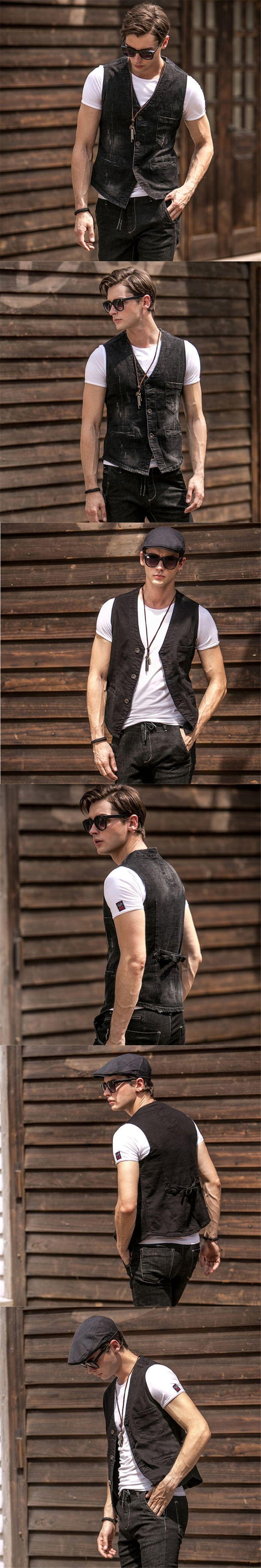 Mens Sleeveless Denim Jacket Denim Vest European and American Style Colete Masculino Men Chaleco Hombre Jean Vest A1649
