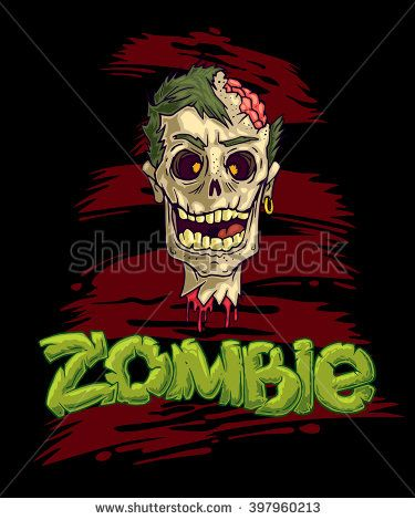 Zombie vector illustration. Sticker art illustration. T-shirt art illustration. Poster vector design.