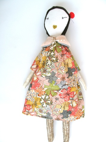 Liberty dress on a Jess Brown rag doll.