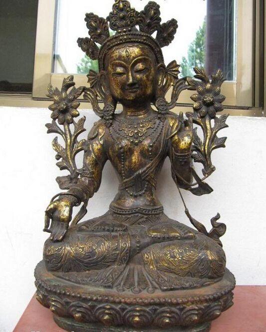 USPS to USA S0862 19 Tibet Buddhism Fane Bronze Copper White Tara Kwan-yin Guan Yin Buddha Statue (B0328) #Affiliate