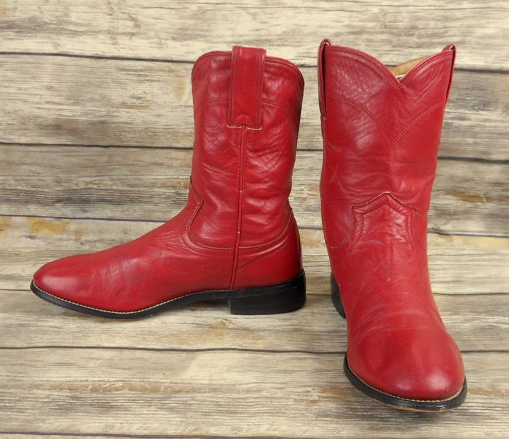 Justin Kids Cowboy Boots Red Leather Child Size 3.5 D Ropers Distressed Vintage  #JustinBoots #Boots