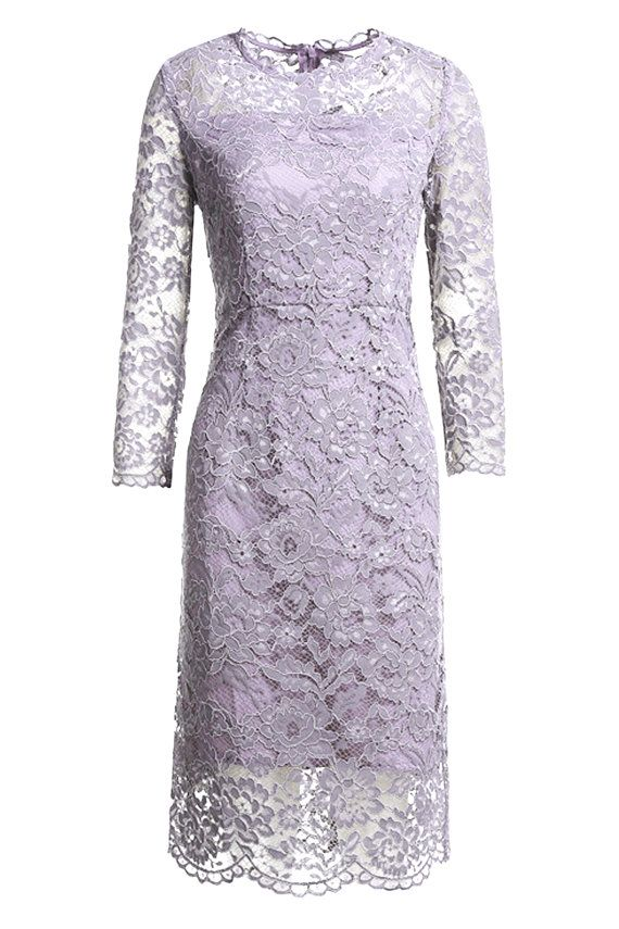 Elegant Sheath Bow Back Lace Dress Purple Gray and by 12AMPARTY