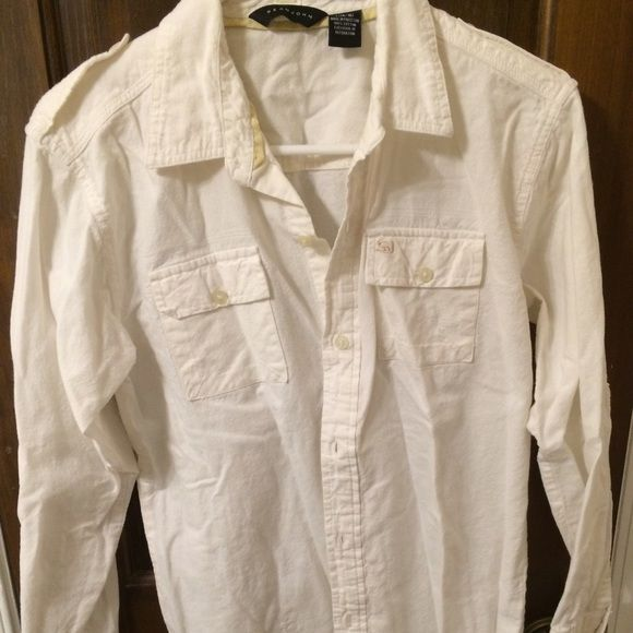 White linen shirt Sarah John white linen shirt. Button up. Excellent condition. Tops Button Down Shirts