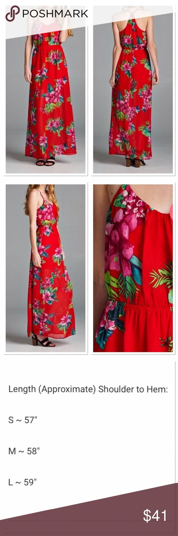 Red Floral Maxi Dress Beautiful Red Floral Maxi Dress Flowy fit Elastic waist Buttonhole at T-back neck 100% polyester  Lined approximately to thigh area then sheer  All measurements taken laying flat!! Small: Bust 16 in. Waist: 16 in.  Medium: Bust: 17 in. Waist: 17 in.  Small approximate 2/4 Medium approximate 6/8  🚨Price Firm, No Holds, No Trades. Direct from wholesaler without tags🚨 Boutique Dresses Maxi