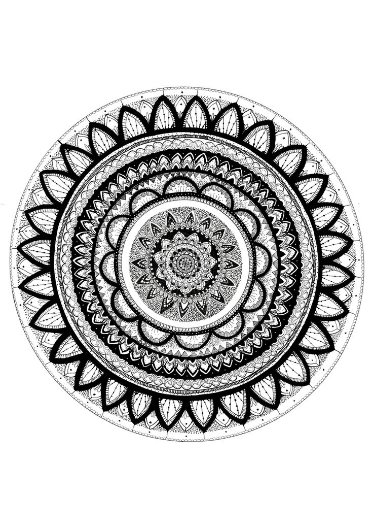 Mandala A3 hand drawn felt tip on paper Print available from jadecrumps.bigcartel.com