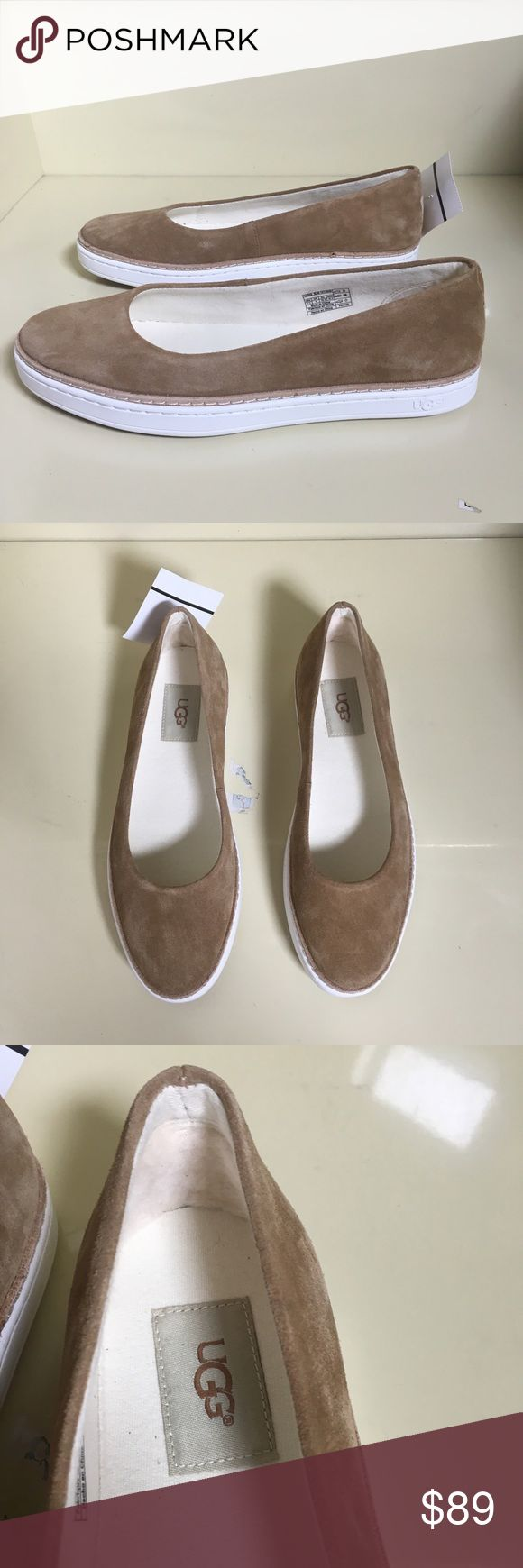 Ugg slipon nude sneaker ballet flat Kammi Chestnut Brand new with tags no box. Flats are in excellent condition with no flaws. Following description is pulled from Nordstrom: A streamlined suede skimmer completes your casual style with understated sophistication and is lined at the heel with a tuft of plush UGGpure™ wool for a bit of extra comfort. Slip-on style Leather upper/textile lining/rubber sole Imported Women's Shoes UGG Shoes Flats & Loafers