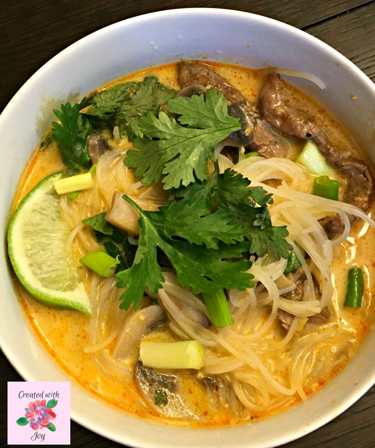 Thai style spicy noodle soup with fragrant garlic ginger beef