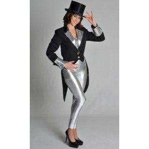Costume de deguisement queue de pie noire Bling Bling deluxe femme, veste queue de pie avec sequins argent.