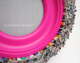 colores marco  cuadro de 5 X 7 de revistas recicladas azul by colorstorydesigns | Etsy