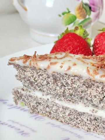 Маковый торт со сливочным кремом