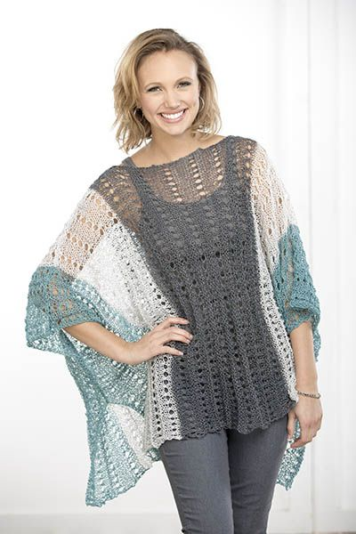 Summer Poncho By Susan Whitmore - Free Knitted Pattern - (universalyarn)