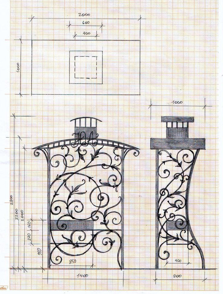 sketches forging wrought iron grill