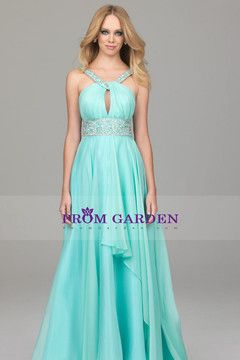 Floor Length Spaghetti Straps prom dress princess A Chiffon under 200 with beads and ruffles