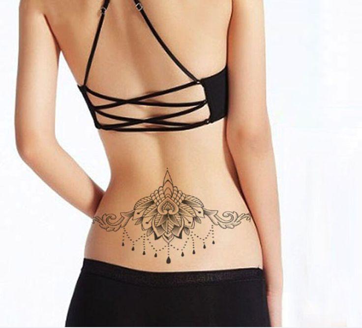 1 pcs Lotus Totem Tatuagem Temporária Sexy Peito Moda Preto À Prova D' Água Do Tatuagem Do Corpo Feminino, Transferência de água Do Corpo Adesivos Decorativos