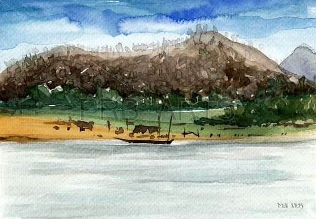 Easy Watercolor Paintings Of River Mountains Boat