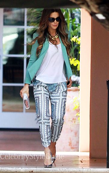 Seen on Celebrity Style Guide: Kate Beckinsale wore this Mint Cropped Silk Jacket attending Gwen Stefani's baby shower at the Hotel Bel-Air in Bel-Air, California on February 8 Get It Here: http://rstyle.me/n/fcgh4mxbn
