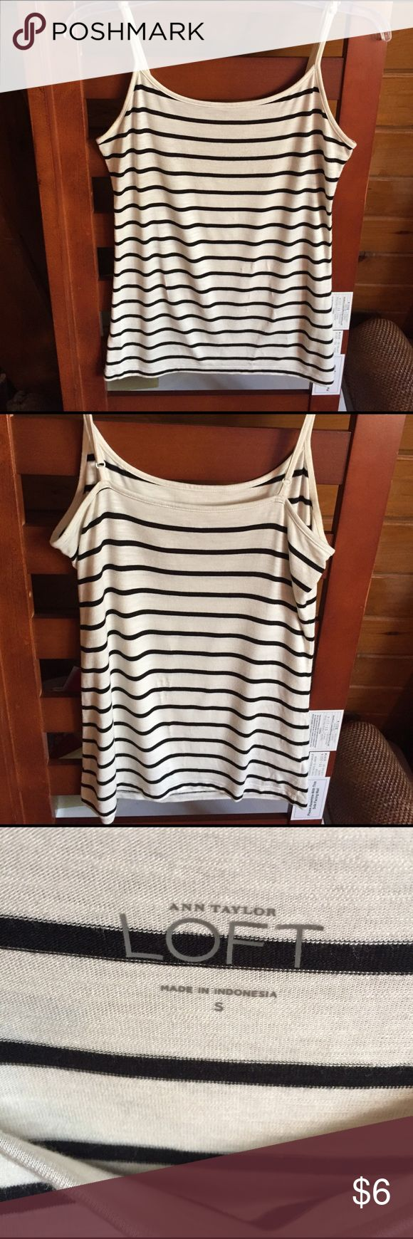 LOFT Ann Taylor size S Cami Blue and cream nautical stripes with adjustable straps. Like new. LOFT Tops Camisoles