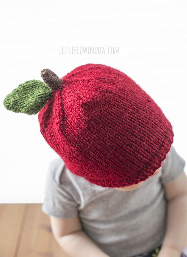 Adorable Apple Hat Knitting Pattern for newborns, babies and toddlers!   littleredwindow.com