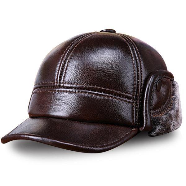 Men Cowhide Genuine Leather Baseball Cap Earflaps Earmuff Bomber Velvet  Linen Hat 9d70bc98b526