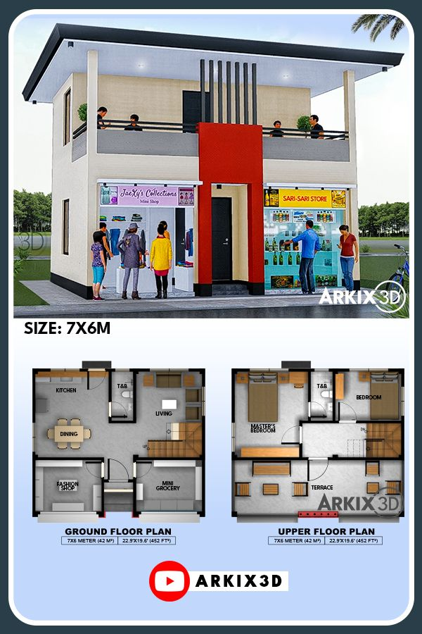 2 Storey With Commercial Spaces No22 House Construction Plan Small House Design Plans Model House Plan