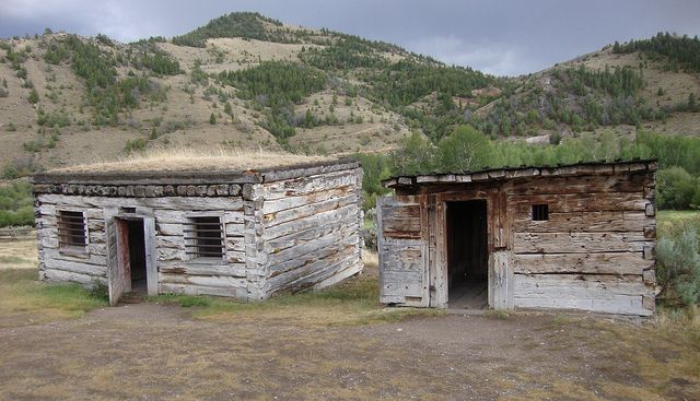 Old Beaverhead County Jails (Bannack, Montana).  Dating back to at least 1863, these wooden jail cells were the very first jails built in the Montana Territory