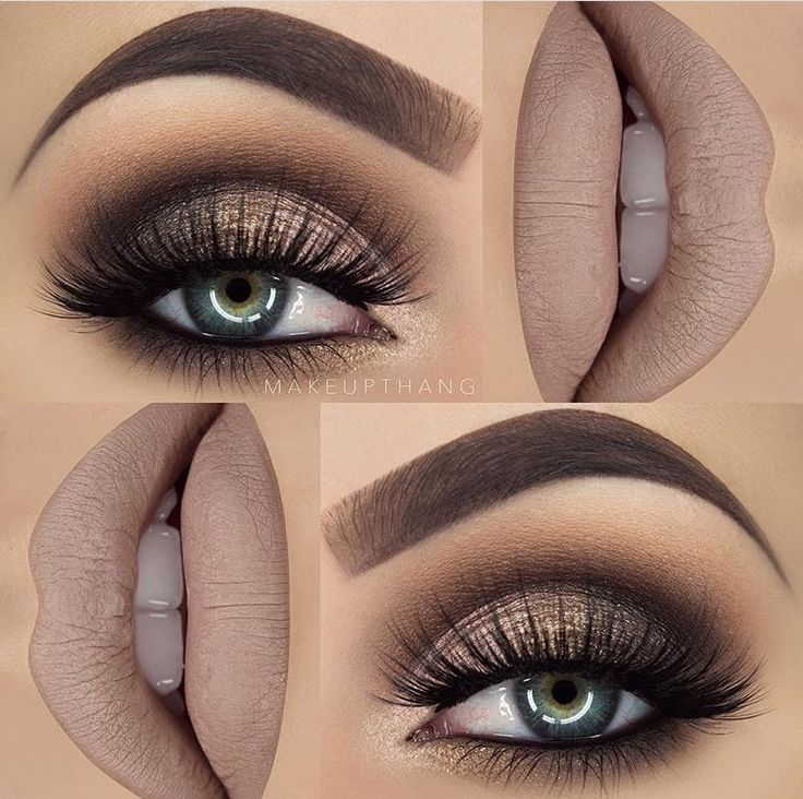Make up thang | beige lips gold smoky cut crease glitter