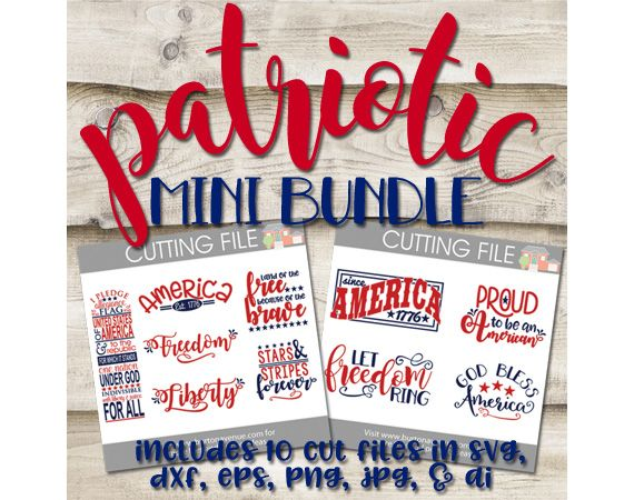 10 brand new cut files perfect for patriotic crafting. Works with Cricut, SIlhouette, and many other electronic cutters.