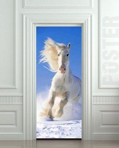 "Door STICKER snow horse mare mustang hoof ride mural decole film self-adhesive poster 30x79""(77x200 cm) / | pulaton - Print on ArtFire"