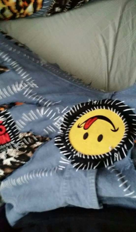 This part is patch on his crotch punk pants I created for him.