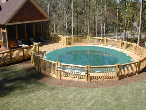 Above ground round pool deck designs pool ideas for Cool decking around pool