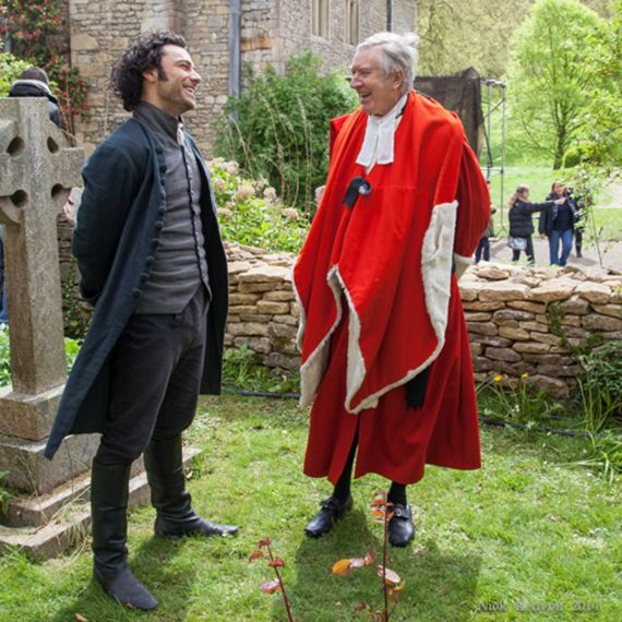 "Aidan Turner, the ""new Poldark,"" with Robin Ellis, the ""original Poldark."""