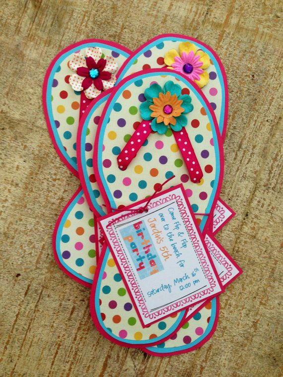 Flip Flop Birthday Invitation by jodigilbert2004 on Etsy, $2.50