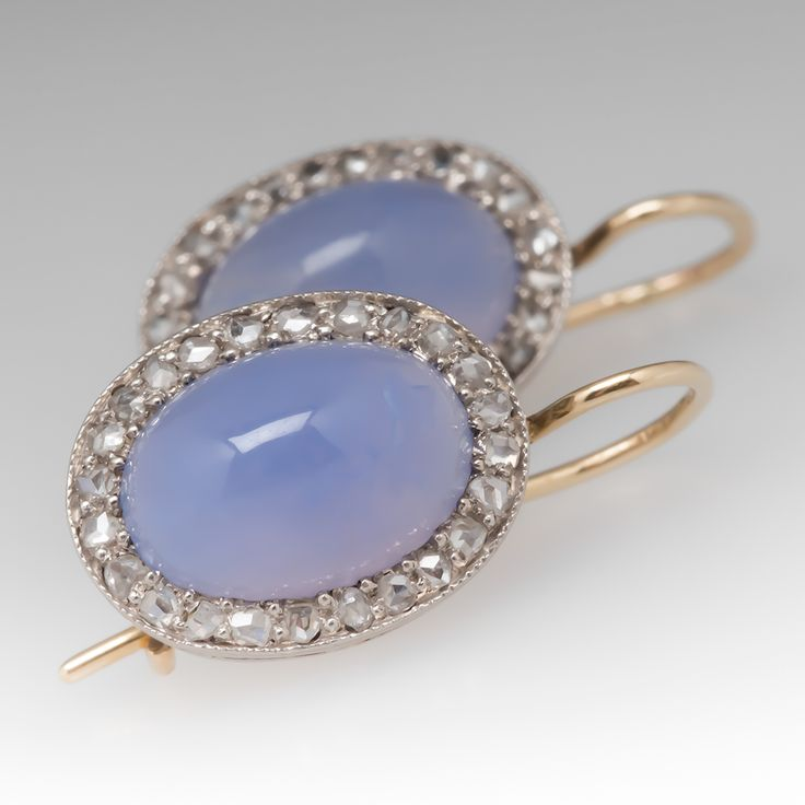 Antique blue chalcedony & rose cut diamond earrings