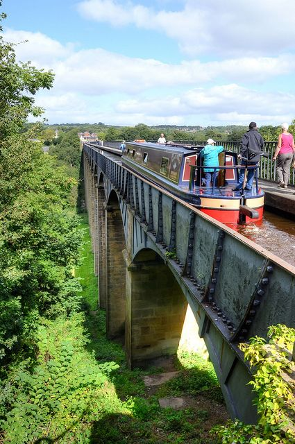 Narrowboat at Pontcysyllte Aqueduct on the Llangollen Canal, the most spectacular aqueduct in Britain