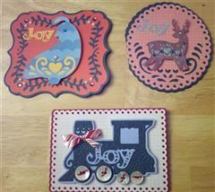 Three Christmas cards made using Folk Art Festival. #Cricut