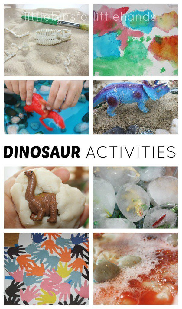 Preschool dinosaur activities for science, sensory, literacy, math, and fine motor skills for kids. Baking soda science, ice melting, excavating, painting, counting, and early learning dinosaur ideas and activities for toddlers and preschoolers.