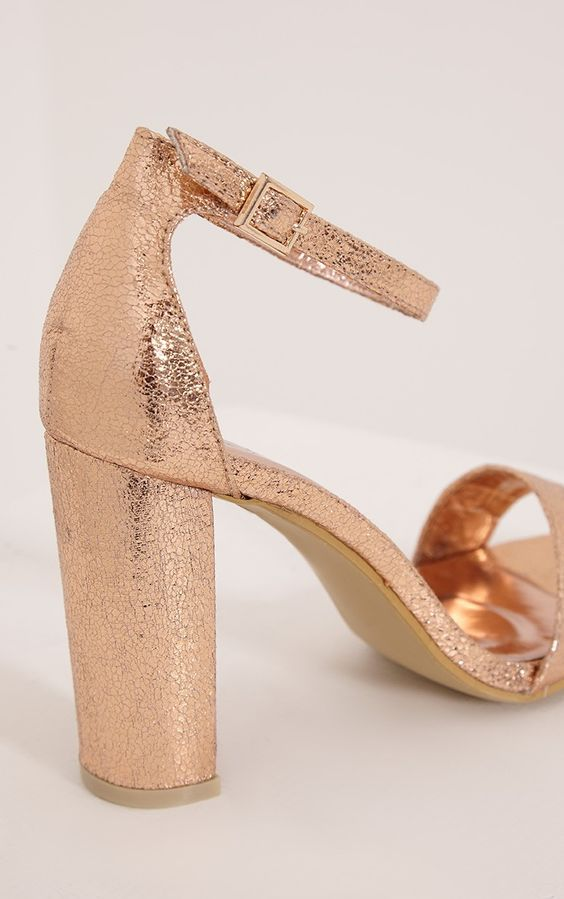 May Rose Gold Strap Heeled Sandals