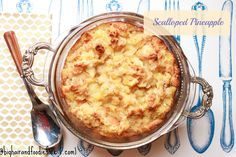 Scalloped pineapple. This is one of my favorite holiday dishes EVER. A sweet side dish that goes great with pork, turkey or can be served as a desert with ice cream or decadent cream sauce.