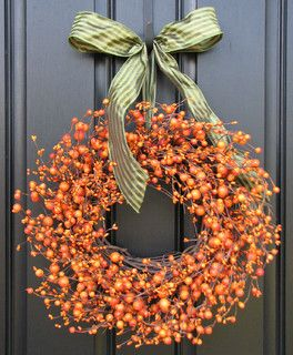 Fall Wreath The Pumpkin Wreath for Autumn Decor by Two Inspire You - eclectic - holiday outdoor decorations - by Etsy