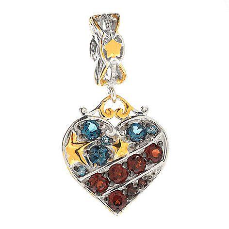 147-804 - Gems en Vogue 1.34ctw Garnet & London Blue Topaz Stars & Stripes Heart Drop Charm