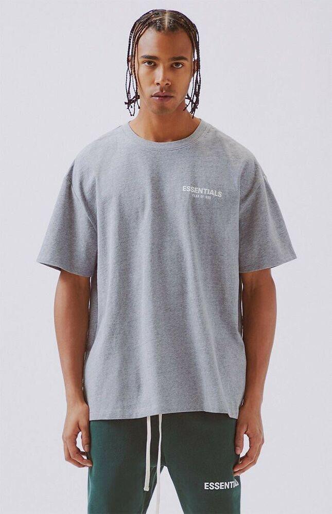 f8f4b42f NWT RARE Fear Of God Pacsun FOG ESSENTIALS Boxy Logo T-Shirt Gray Grey M  MEDIUM | eBay