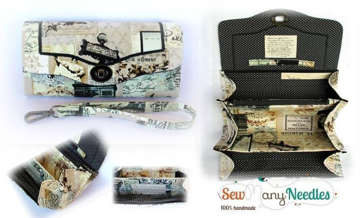 Handmade by Sew Many Needles Necessary Clutch Wallet - PARIS NEWS VINTAGE CREAM