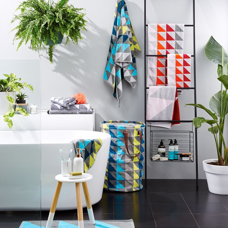 Pop of colour in your bathroom. Kmart product. Styled by: Jess Barnes