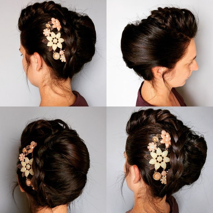 Banana updo with braid, beauty wedding hairstyle done by @absolutediystyle