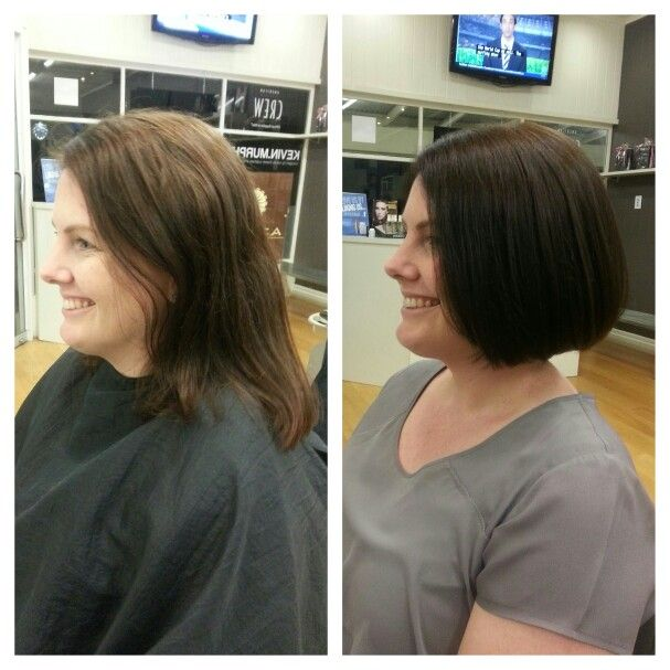Brown bob. Cut & color change