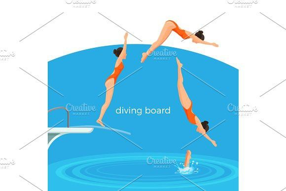 Diving board and female swimmer in swimsuit that jumps #diving #board