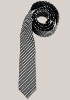 VENTI reine Seidenkrawatte 6 cm breit Streifen Dessin grau 001120/75