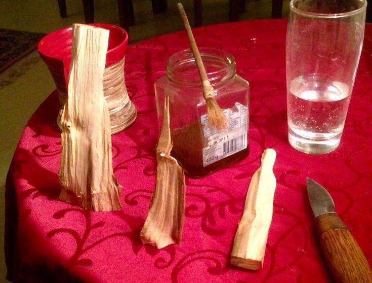 #Pflaumenholz wird für #Holzfiguren zum #schnitzen präpariert