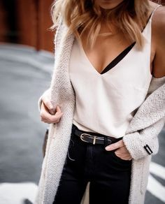 Cami + cozy knit.