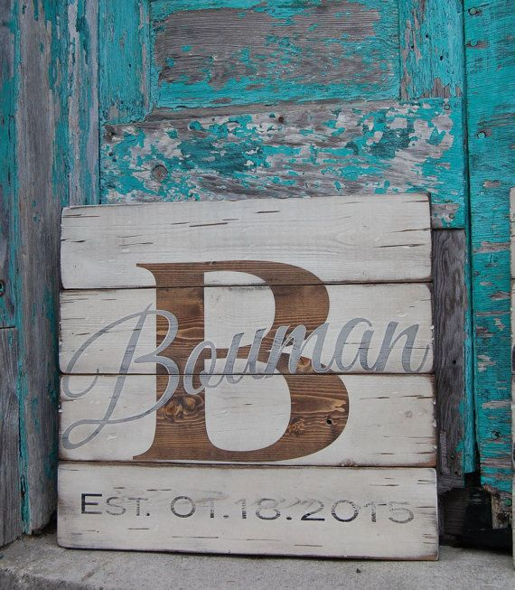 Monogram/Initial w/ Last Name and Wedding Year - Anniversary Gift - Wedding Gift - Bridal - Wooden sign - Personalized - Pallet